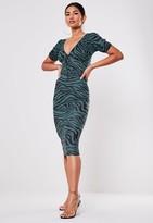 Missguided Blue Zebra Print Milkmaid Midi Dress
