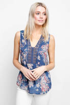 Daniel Rainn Paisley Printed Embroidered Tank Top
