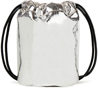 MM6 MAISON MARGIELA Printed Metallic Faux Crinkled-leather Bucket Bag