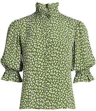 By Ti Mo Highneck Ruffle Blouson-Sleeve Shirt