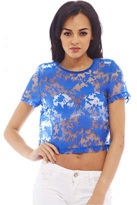 AX Paris Women Sheer Lace Cropped Top