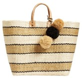 Mar y Sol 'Capri' Woven Tote With Pom Charms - Brown