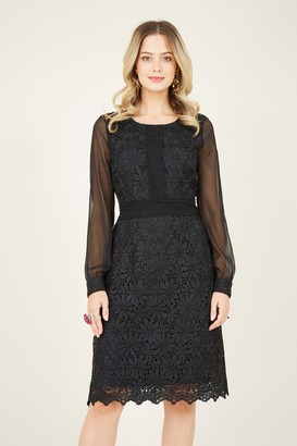 Yumi Black Lace Panel Party Dress