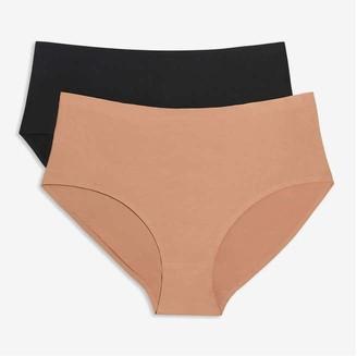 Joe Fresh Women+ 2 Pack High-Waist Briefs, Taupe (Size 2X)