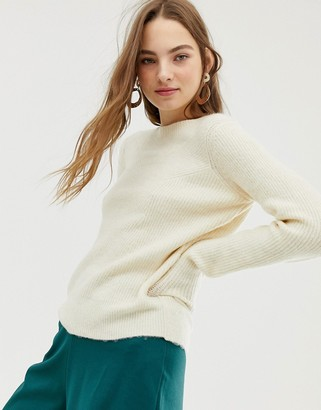 Pieces Lara high neck knit sweater-Cream