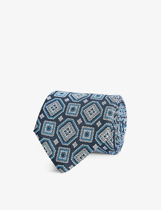 Reiss Luka medallion-print silk tie