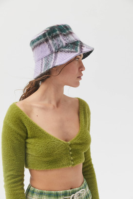Urban Outfitters Brushed Weave Plaid Bucket Hat