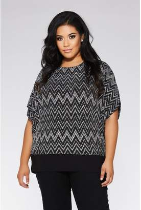 Quiz Curve Black and Silver Zig Zag Top