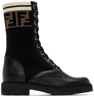 Fendi Black Rockoko Combat Boots