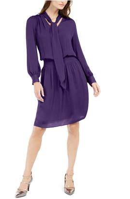 Alfani Smocked Tie-Neck Dress