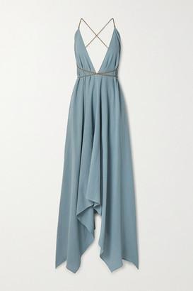 CARAVANA Net Sustain Yatzil Asymmetric Leather-trimmed Cotton-gauze Maxi Dress