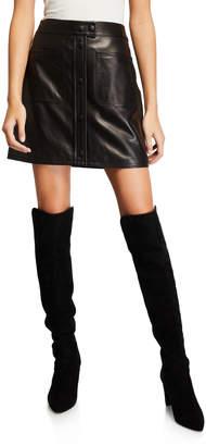 Frame Leather Patch-Pocket Mini Skirt