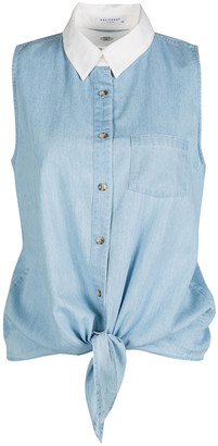 Equipment Blue Contrast Collar Tie Detail Sleeveless Denim Mina Blouse S