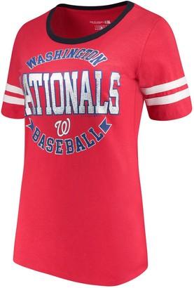 New Era Women's 5th & Ocean by Red Washington Nationals Slub Jersey Scoop Neck Sleeve Stripes T-Shirt