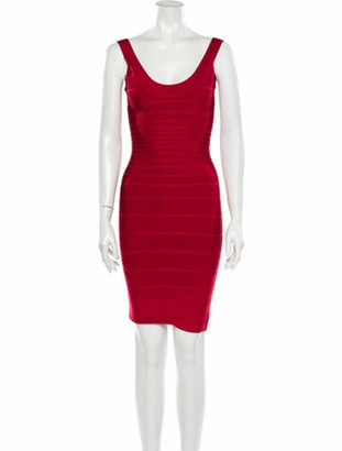 Herve Leger Scoop Neck Mini Dress w/ Tags Red