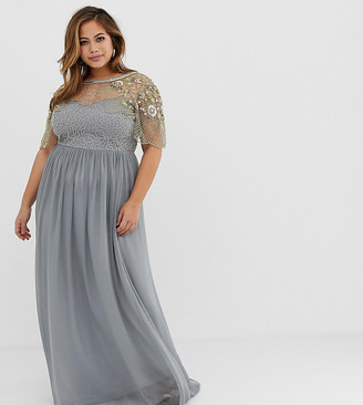Virgos Lounge Plus sheer embellished flutter sleeve maxi dress in pale gray