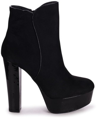 Linzi BLOOM - Black Patent Suede Round Toe Extreme Platform Ankle Boots