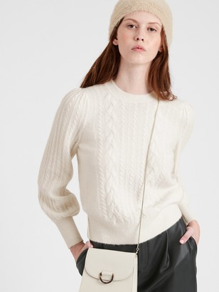 Banana Republic Cable-Knit Puff-Sleeve Sweater