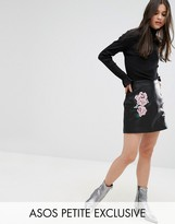 Asos Leather Look Mini Skirt with Embroidery Detail