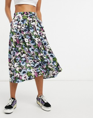 Monki Sigrid recycled button down midi skirt in blue poppy print