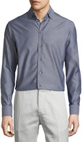 Eton Mini-Houndstooth Long-Sleeve Sport Shirt, Gray