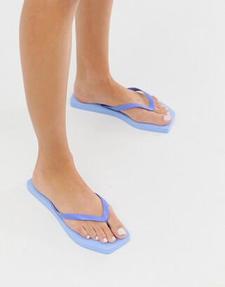 Asos Design DESIGN Fan square toe flip flops in blue