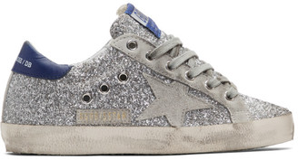Golden Goose Silver and Grey Superstar Sneakers