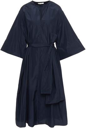 The Row Belted Taffeta Midi Dress