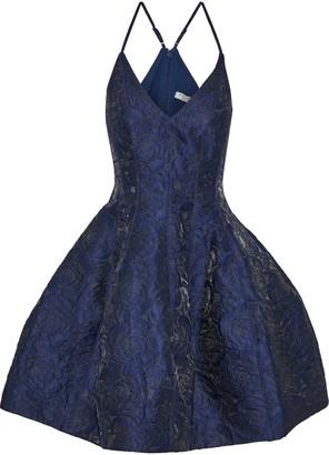 Halston Flared Brocade Mini Dress