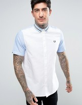 Fred Perry Short Sleeve Shirt Bomber Stripe Collar in White