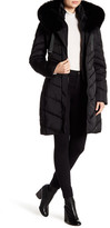 Tahari Quilted Down With Fox Fur Trim Hood Jacket