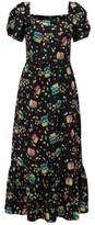 HVN Fromer Treasure Chest-print Silk-crepe Dress - Womens - Black Print