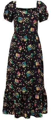 HVN Fromer Treasure Chest-print Silk-crepe Dress - Black Print