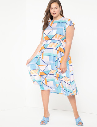 ELOQUII Flutter Sleeve Fit And Flare Dress