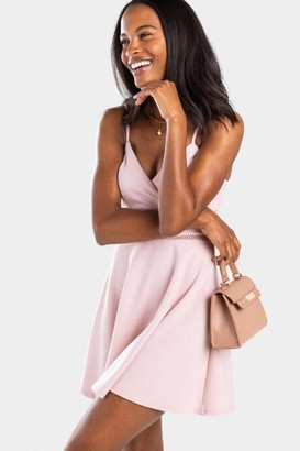 francesca's Faran Ladder Trim Mini Dress in Blush - Blush