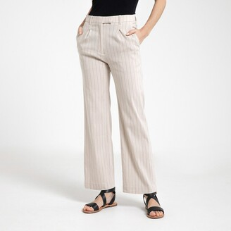 La Redoute Collections Striped Wide Leg Trousers, Linen Mix, Length 30.5""
