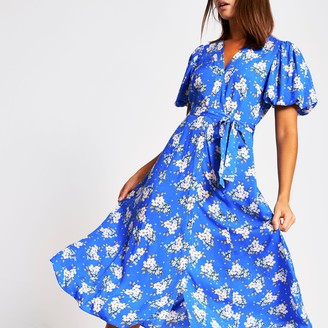 River Island Womens Blue floral puff sleeve midi dress