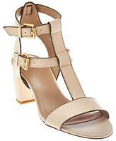 LOGO by Lori Goldstein Double Buckle T-Strap Block Heels