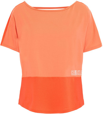Calvin Klein Cutout Two-tone Printed Stretch-jersey T-shirt