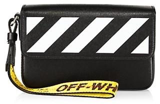 Off-White Diagonal Saffiano Leather Clutch