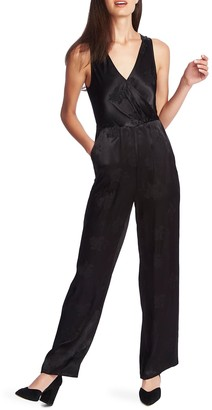 1 STATE Floral Satin Jacquard Cross Front Jumpsuit