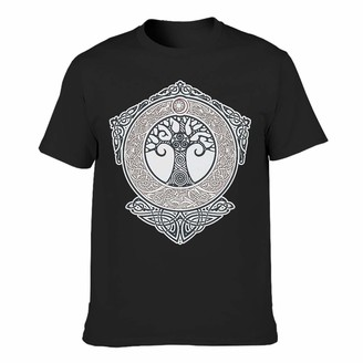 Zhcon Men Cotton T-Shirt Viking Tree of Life Cool Individuality Ultra Soft - Printed Tops Black l