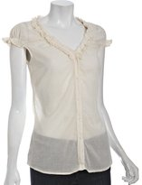 Ella Moss champagne cotton voile ruffle short sleeve blouse