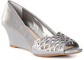 Alex Marie Allesa Metallic Hotfix Peep Toe Wedge Pumps