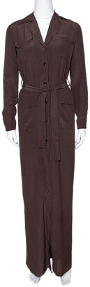 Gucci Brown Silk Crepe Button Down Belted Dress S