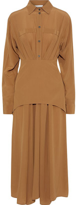 Victoria Beckham Layered Pleated Silk Crepe De Chine Midi Dress