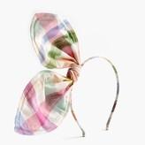 J.Crew Girls' giant bow headband in gingham