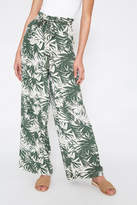 Skies Are Blue Olive Tropical Floral Wide Leg Pant Olive S