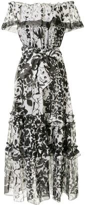 Marchesa Printed Off The Shoulder Maxi Dress