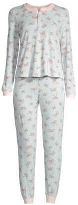 Morgan Lane Two-Piece Ribbon Print Pajama Set